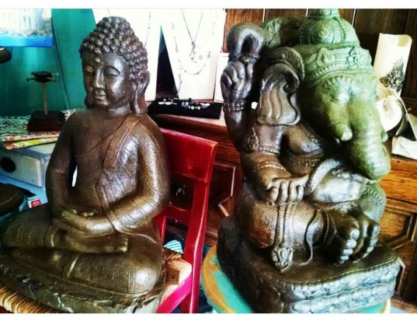 Meditating Statues - San Diego: Available at Paradise Produce Gift Shop in Rancho Santa Fe. Buddhas, Ganesha statues, Saints, Mother Mary, Happy Buddha and more.
