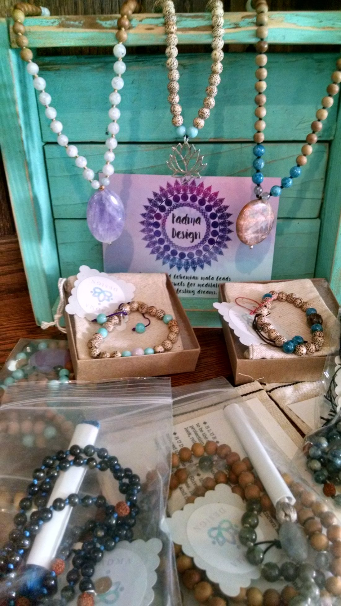 Mala Beads by Padma Design sold in our gift shop at Paradise Produce Market in San Diego.