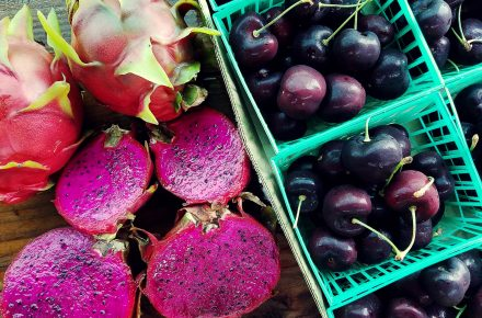 Locally Grown Organic Dragon Fruit, Oregon Cherries